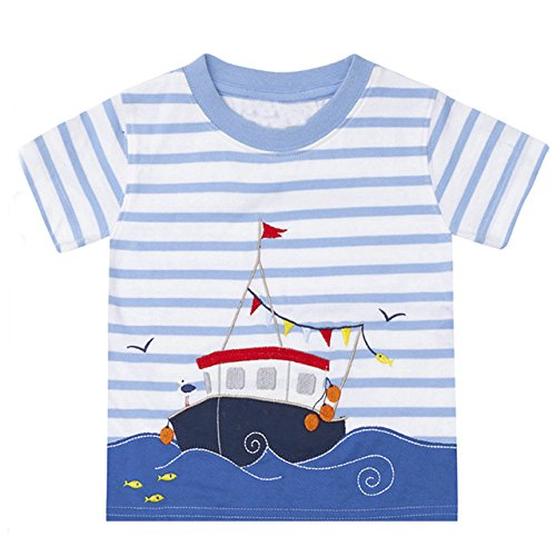 Little Boys T-Shirt Short Sleeve Cartoon Cotton Kids Summer Tops 18M-6Years