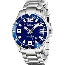Stuhrling Original Mens Swiss Quartz Stainless Steel Sport Analog Dive Watch, Water Resistant 200 Meters, Blue Dial, Aqua-diver 395.33U16
