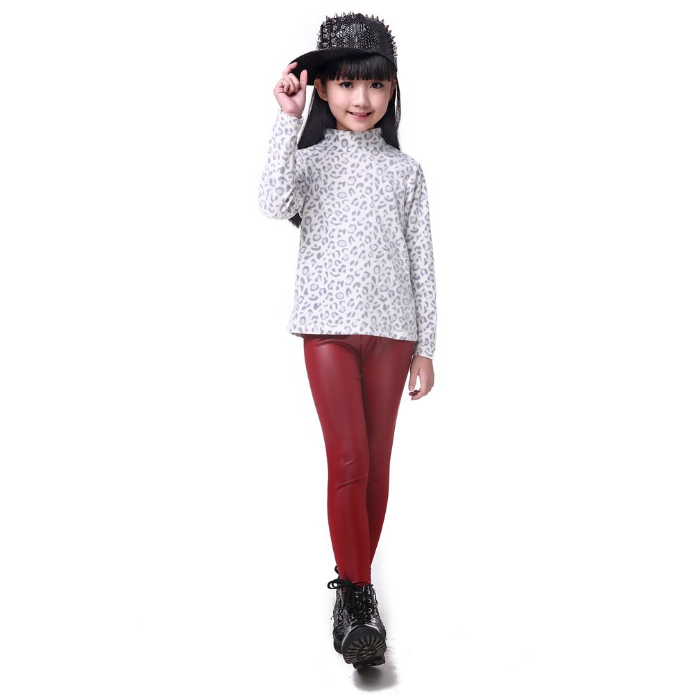 XFentech Little Girls Fashion Imitation Leather Trousers Kids Stretch Leggings Pants