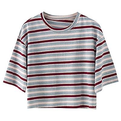 Xmy stripe t-shirt lâche des femmes col rond T-shirt en coton à manches courtes est un code de base