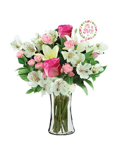 It's A Baby Girl White Lilies and Pink Roses Bouquet, with Clear Glass Vase (Fresh Cut Flowers) by Flowers Sent Today