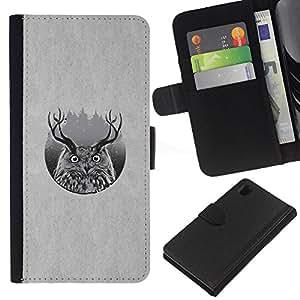 JackGot ( Ciervo B & W Búho ) Sony Xperia Z1 L39 la tarjeta de Crédito Slots PU Funda de cuero Monedero caso cubierta de piel