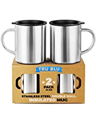 Stainless Steel Coffee Mug with Lid, Set of 2 – 14oz Premium Double Wall Insulated Travel Mugs – Shatterproof, BPA Free Spill Resistant Lids, Dishwasher Safe, Comfortable Handle Cups for Tea, Beer
