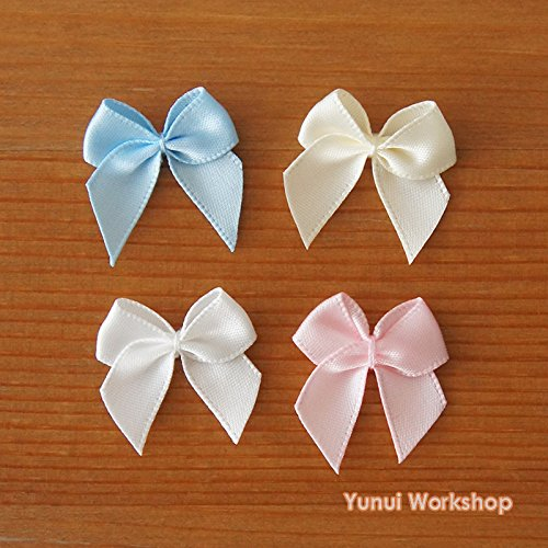 10pcs (Baby Pink) Small Ribbon Bow Embellishment 25mm Baby Pink Blue Ivory Off-white Pastel Colors Cute Magical Girl Lolita Fashion Cosplay Sewing Craft DIY