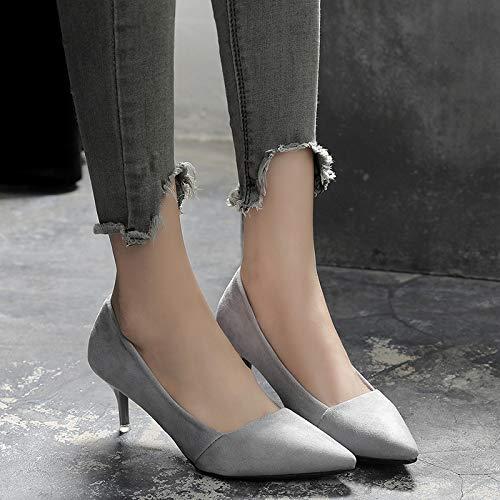 HRCxue Pumps Graue Graue Graue Spitze Stiletto Heels Mode flachen Mund Frauen Schuhe einzelne Ferse Schuhe Wilde Arbeitsschuhe b1a1bf