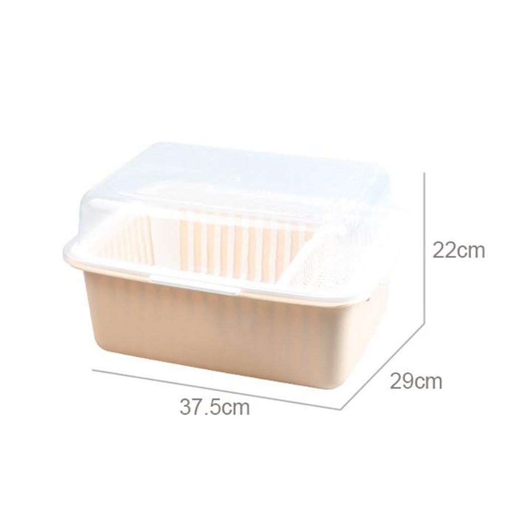 Racks de platos Armario de plástico con tapa Vajilla Bandeja de drenaje Estante de cocina Cuenco instalado Palillos Caja de almacenamiento Caja Tazón Plato ...