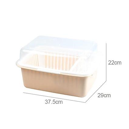 ... tapa Vajilla Bandeja de drenaje Estante de cocina Cuenco instalado Palillos Caja de almacenamiento Caja Tazón Plato Platos Portavasos (Color : Verde ...