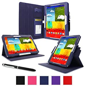 rooCASE Samsung Galaxy Note 10.1 2014 Edition Dual-View Folio Case Cover - Navy (New November 2013 Version)