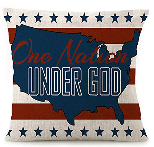 Various Creative American Flag Star Stripes Design and Funny One Nation Under God Cotton Linen Throw Pillow Covers Cushion Cover Decorative Sofa Bedroom Living Room Square 18 Inches