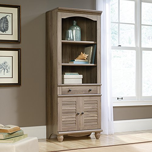 Sauder Harbor View Library With Doors in salt oak by Sauder