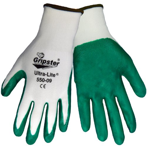 Global Glove 550 Gripster Ultralite Nitrile Glove with Knit Wrist Liner, Work, Extra large, Dark Green/White (Case of 72) by Global Glove