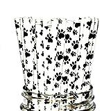 Free DHL 500 pcs Black Paw Paper Straws Bulk, Puppy Adoption Dog Cat Footprint Paper Drinking Straws for Holiday Party, Birthday, Wedding, Baby Shower, Picnic, BBQ, Farm Animal Print Mason Jar Straws