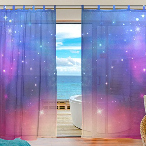 INGBAGS Bedroom Decor Living Room Decorations Star Galaxy Pattern Print Tulle Polyester Door Window Gauze / Sheer Curtain Drape Two Panels Set 55x78 inch ,Set of 2 - Galaxy Curtains