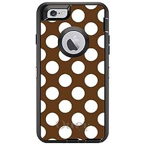"CUSTOM Black OtterBox Defender Series Case for Apple iPhone 6 (4.7"" Model) - White & Brown Polka Dots"