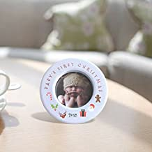 "Baby's First Christmas - 2018 Ornament for Newborn - 3 1/2"" Ceramic Photo Frame - Baby Ornaments"