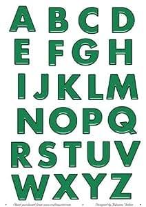Vidrio verde efecto del alfabeto letras mayúsculas por Jo Gethin