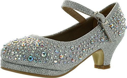 (Titan Mall Forever Kids Dana-58k Mary Jane Dress Pumps, Silver 4 M US Big)