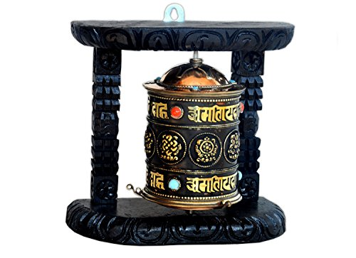 Buddhist Prayer Wheel (Tibetan Wood Copper Om Mani Padme Hum Wall Hanging Prayer Wheel-8 Auspicious symbols)