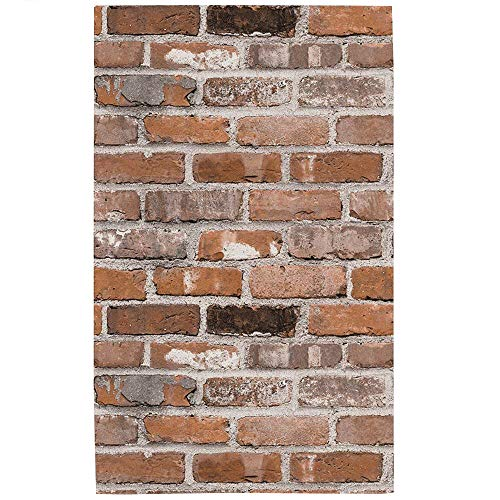 Blooming Wall Vintage Rust Faux Brick Textured Wallpaper for Livingroom Kitchen Bathroom,Large Size, 54 Square ft/roll (55205)