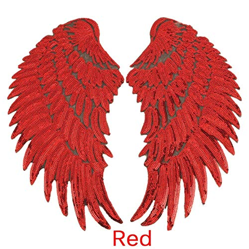 Patches - 1pair Wings Sequined Feather Patches Sew On Iron Clothes Patch 3d Applique Diy Stickers Wedding - Time Team Balls Oilers Dragon Boys Patch Applique Iron Table Whistle Case Plush