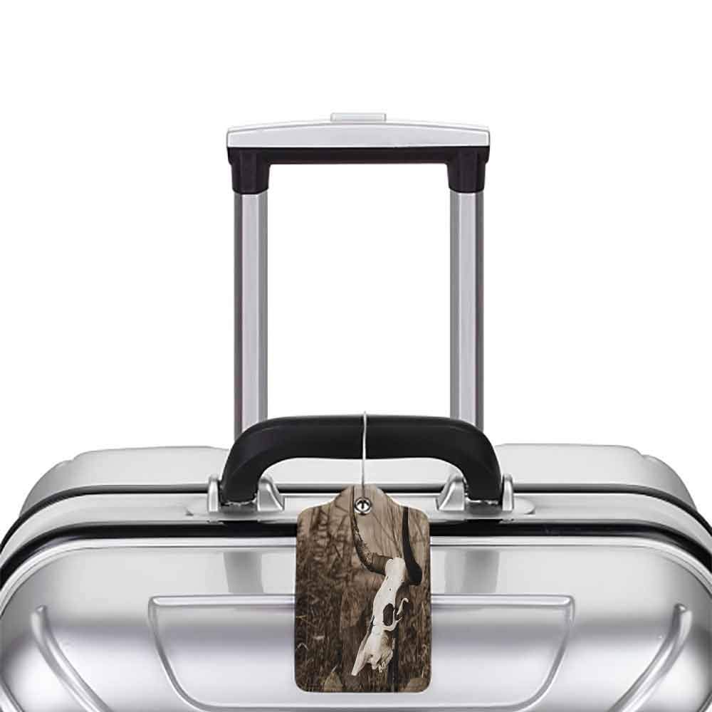 Waterproof luggage tag Western Photo of a Bull Skull on a Stick Bushes Totem Native American Myth Art Print Soft to the touch Black and White W2.7 x L4.6