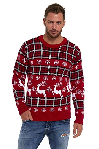 Lekeez Men's Novelty Sweaters Christmas Xmas Unisex Jumpers XXX-Large Red Tartan Fairisle