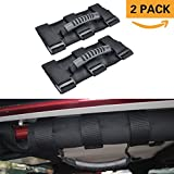 Grab Handle Set for Jeep Wrangler Roll Bars (2 Pack),Easy-to-Fit 3 Straps Design for 1987-2017 Models,Wrangler Accessories (BLACK)