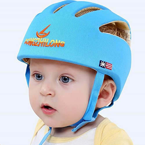 Huifen Baby Children Infant Toddler Adjustable Safety Helmet Headguard Protective Harnesses Cap Blue, Providing Safer Environment When Learning to Crawl Walk Playing Baby Summer Infant Blue Hat