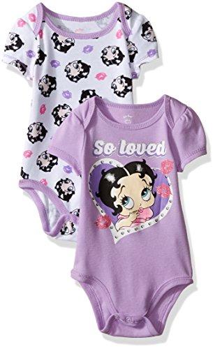 Betty Boop Baby Girls 2 Pack Bodysuit Layette Set  Purple  0 3 Months