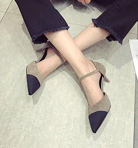 Ajunr Punta puerto de luz el color de la pasta fina Fijaciones ranuradas seguida de moda 3cm de color caqui con zapatos bajos 39 Ocasional elegante,Transpirable,Sandalias Mujer 39