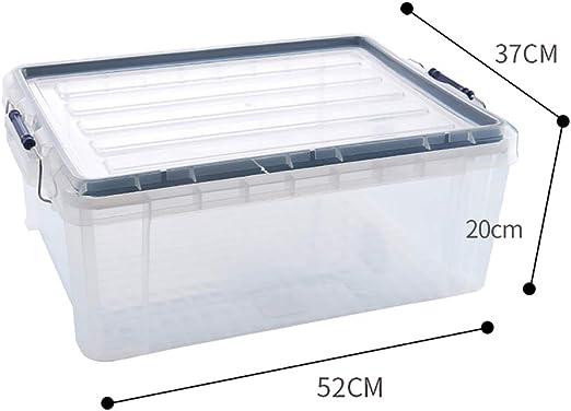 Caja de almacenamiento de madera maciza Caja de almacenamiento, caja de almacenamiento de plástico cubierto transparente espesado Ropa colcha Caja de almacenamiento de varios artículos Caja de almacen: Amazon.es: Hogar