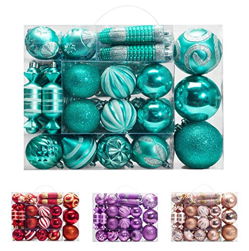 AMS 81ct Christmas Ball Assorted Pendant Shatterproof Ball Ornament Set Seasonal Decorations with Reusable Hand-Help Gift Boxes Ideal for Xmas, Holiday and Party (81ct, Turquoise) (Baubles Turquoise Christmas)
