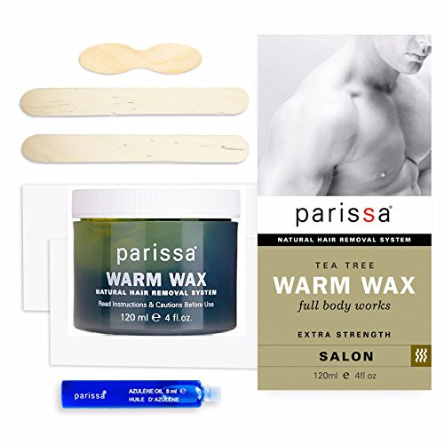 Parissa Men's Warm Wax, Body Waxing Kit for Men Hair Removal, 120ml (4 oz) Wax with Tea Tree,  20 Strips, 3 Spatulas, Aftercare Oil