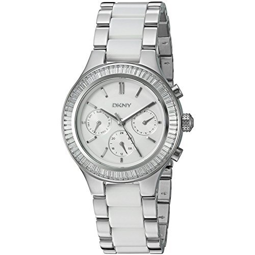 Authentic Ceramic Watch - DKNY Women's 'Chambers' Quartz Stainless Steel and Ceramic Casual Watch, Color:Silver-Toned (Model: NY2497)