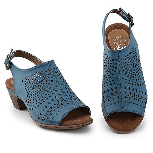 Heel Toe Sandals Out Leroy Mules Low Block Alexis Blue Cut Peep Women q1tg0yvx
