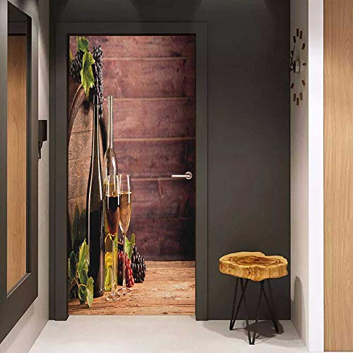 Onefzc Soliciting Sticker for Door Wine Still Life of Wine with Wooden Keg Rustic Concept Tasting Viticulture Mural Wallpaper W17.1 x H78.7 Brown Green Pale Brown