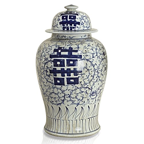 ChinaFurnitureOnline Porcelain Jar, Hand Painted Floral and Double Happiness Motif Ginger Jar with Lid Blue and White