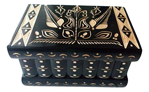 AZi Big Wooden Magic Puzzle Box Secret Treasure Storage Beautiful Special handcarved Jewelry Box case (Black) by AZi