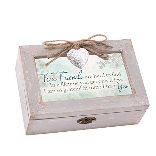 True Friends Grateful Taupe Wood Locket Jewelry Music Box Plays Tune Wonderful - Photo Locket 2 Picture
