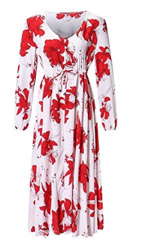 Dell'impero Vita 2 Vestito Delle Donne Su Maxi Spiaggia Lunga Jaycargogo Pulsante Stampa Floreale In FqIwYf