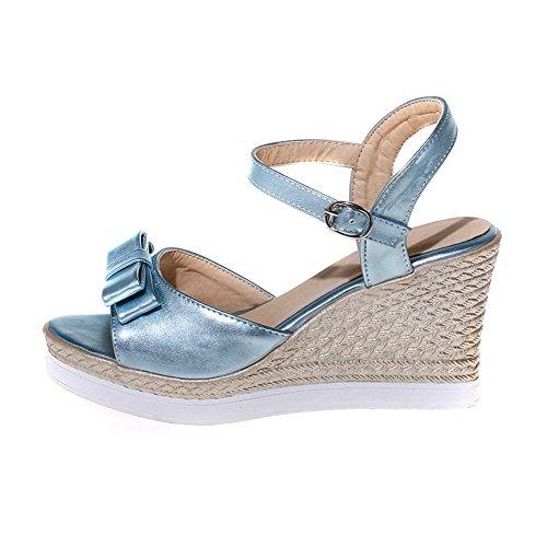 Amoonyfashion Femmes Bout Ouvert Talons Hauts En Cuir Verni Solide Boucle Coins-sandales Bleu