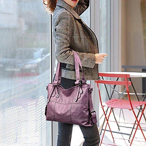 Lhwy Fourre Portés tout En Cuir Sacs Main À Femmes Violet Bandoulieres Femme Épaule A Pour Sac Mode rYzHrq