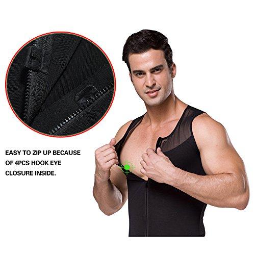 42b662b2236 Hanerdun- Mens Slimming Body Shaper Shirt With Zipper Abs Abdomen Slim