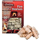 Camerons All Natural Firestarters- 50 pack- Lightning Fast Lighters for Barbecue Grill, BBQ Charcoal, Campfire, Fireplace and More- Unique Design Lights Faster than Cubes, Square or Nuggets