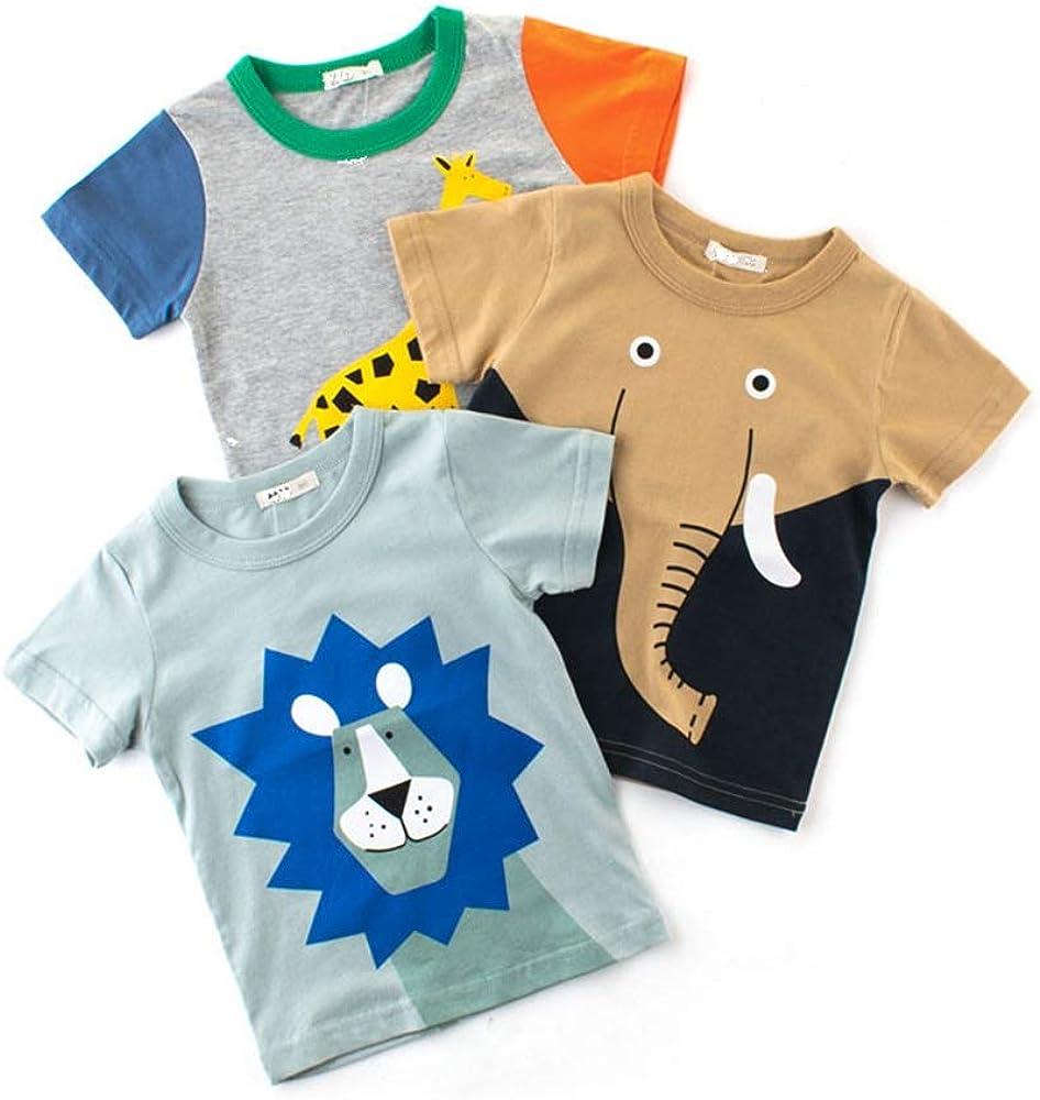 3Piece Toddler Baby Boys Summer Tshirt,Short Sleeve Round Sleeve Kids Cute Animal Printed Tee Children Shirts Top
