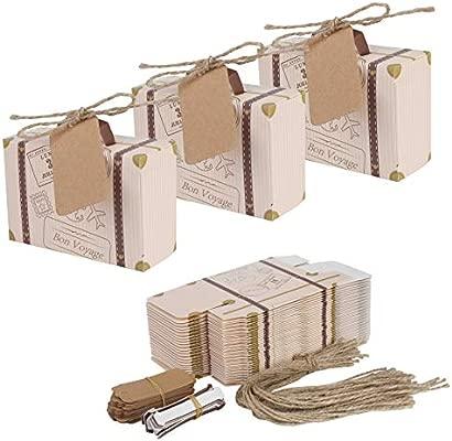 Mini maleta 50 piezas boda Favor caja con cordel de yute de tarjeta de papel Kraft y Candy caja para fiesta de cumpleaños bebé ducha boda Décor