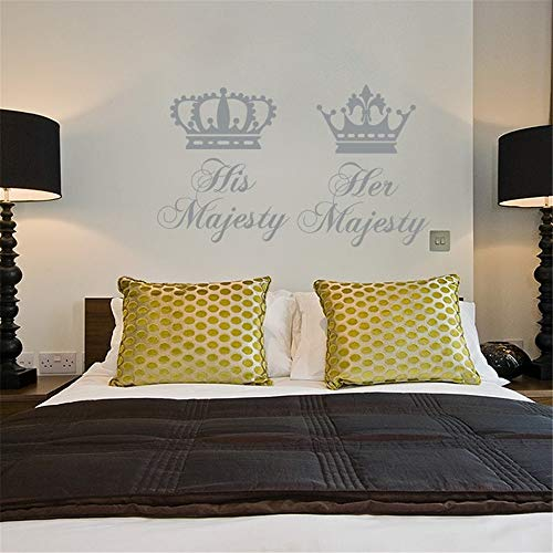 Yunhaa Wall Stickers Art Decor Decals His and Her Majesty Crowns for Couple Bedroom