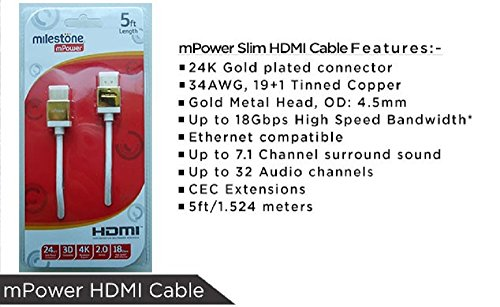 Milestone mPower Slim HDMI Cable 5ft-White