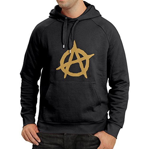 lepni.me Unisex Hoodie Anarchist Symbol Anarchism Political Design Anarchy Monogram (Medium Black Gold)