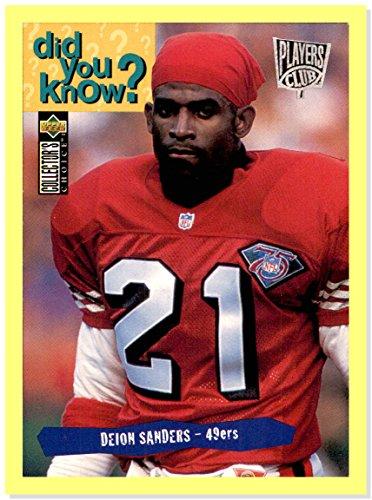 San Francisco 49ers Collectors - 1995 Collector's Choice Player's Club #48 Deion Sanders SAN FRANCISCO 49ers FSU FLORIDA STATE SEMINOLES